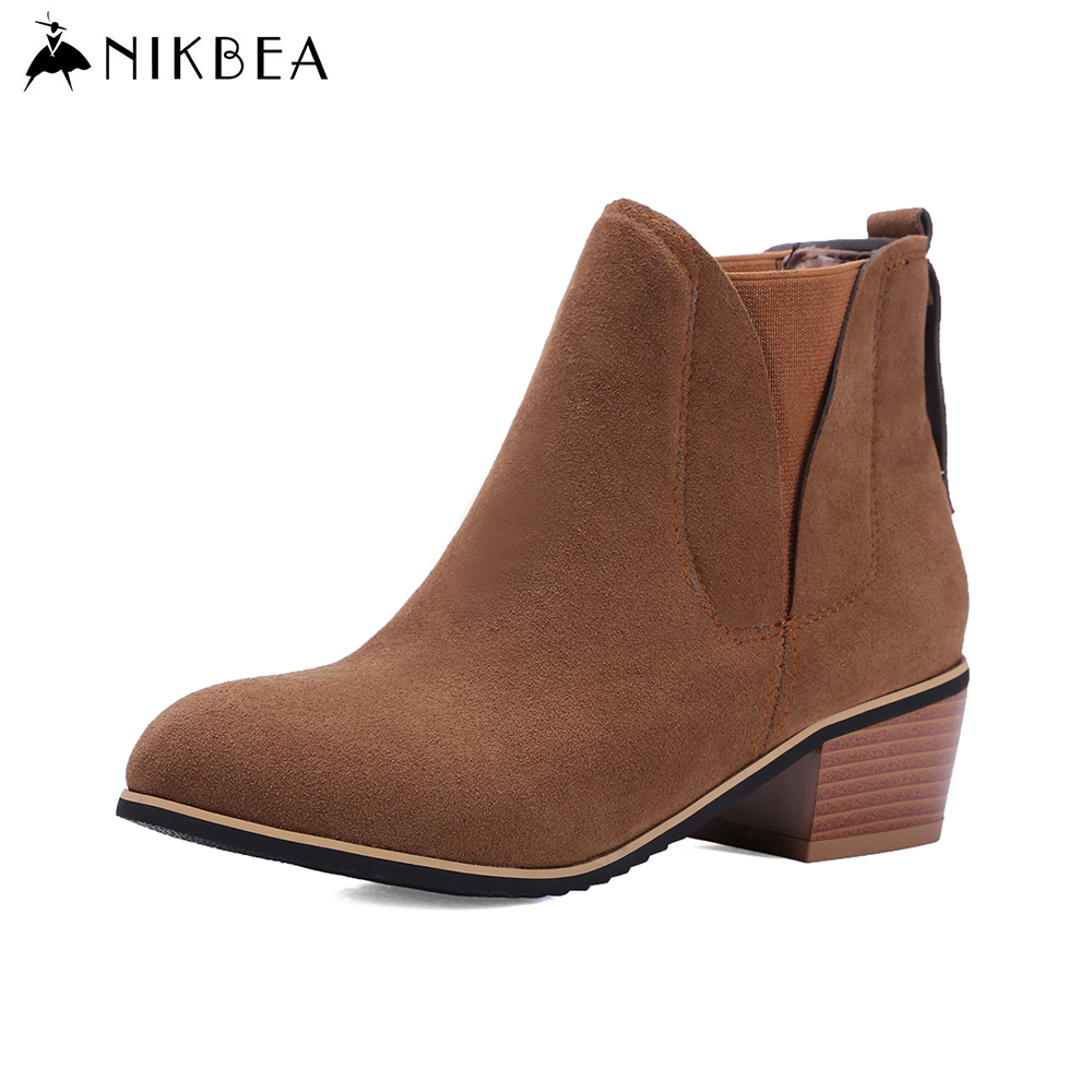 nikbea suede ankle boot chunky low heel chelsea boots