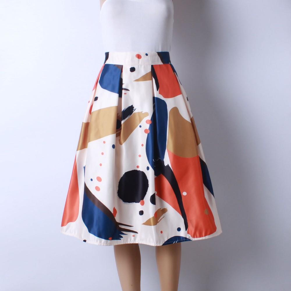 HTB1FBcOLVXXXXcMXFXXq6xXFXXXH - GOKIC 2017 Summer Women Vintage Retro Satin Floral Pleated Skirts Audrey Hepburn Style High Waist A-Line tutu Midi Skirt
