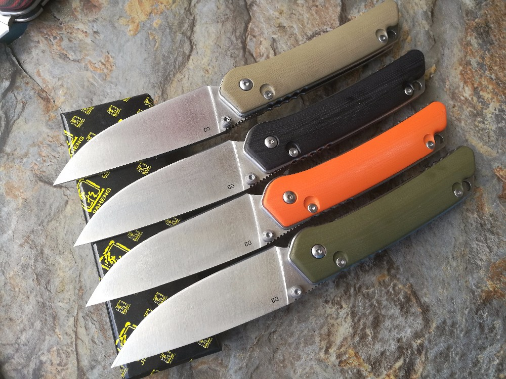 Buy 2016 JIAHENG Floding knife Stain Finished D2 blade A variety of colors G10 handle outdoor survival hunting camping tool OEM cheap