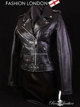 BRANDO Black Ladies Biker Motorcycle Motorbike Cruiser Cowhide Leather Jacket(China (Mainland))