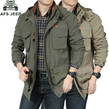 Sell AFS Jeep Wild Activity Jacket Coat Men's Army Green Cool Jacket Pockets Zip Up Hat Removable M-3XL Free Shipping(China (Mainland))