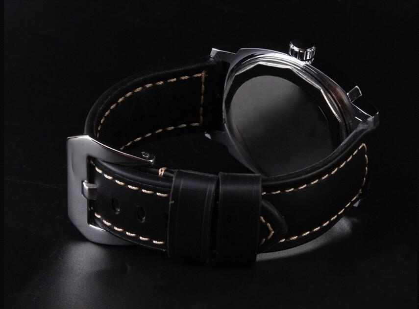 Бесплатная доставка 24 мм новый высокое качество черный натуральная кожа часы ремень полированный развертывания из нержавеющей стали застежка