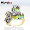 49 Off Square Sapphire Jewelry Rose Gold Plated Rings Women Bijoux Blue Red Simulated Diamond Ring