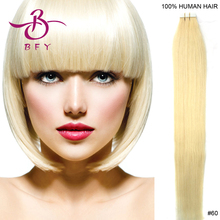 18inch 45cm long Tape remy Human Hair Extensions #60 bleach blonde color 40gram