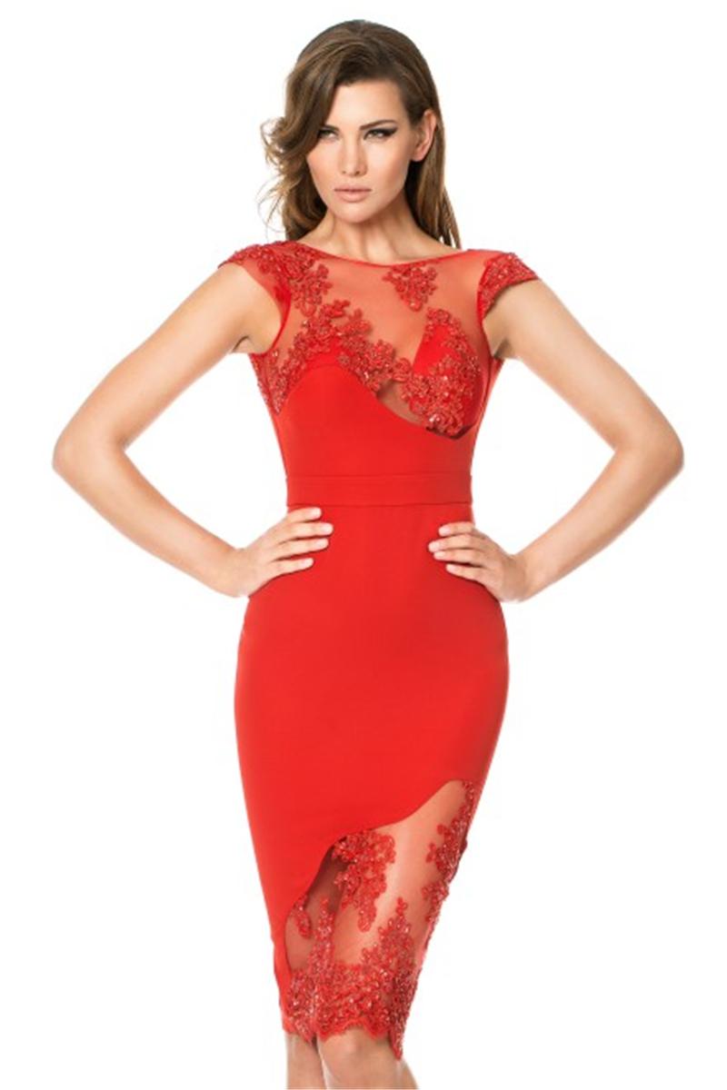 Womens Red Cocktail Dress - Ocodea.com
