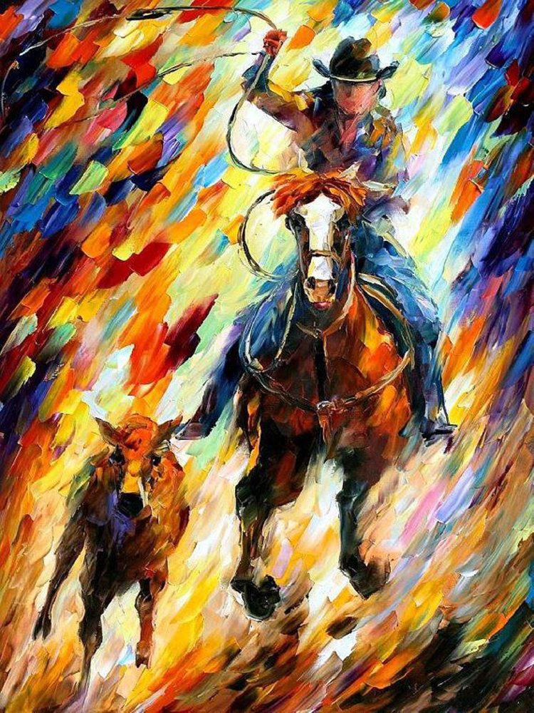 Professional Painter Hand Painted High Quality Western Cow Boy Oil Painting On Canvas Modern Abstract Cowboy Canvas Painting(China (Mainland))