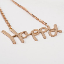 New FashionJewelry Gold Plated Letter Happy Maxi Style Women Choker Oversized Big Pendant Necklace(China (Mainland))