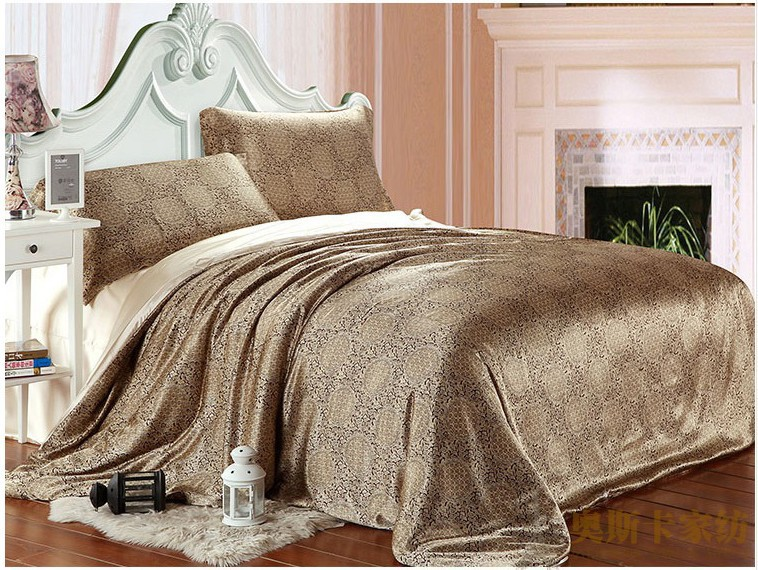 Brown paisley luxury silk satin bedding set king queen full twin size duvet cover bedspread bedsheet bed in a bag sheet linen(China (Mainland))