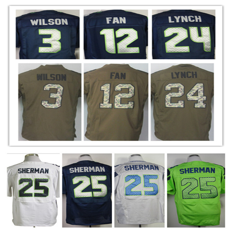 100% cousue # 88 Jimmy Graham Jersey # 3 Russell Willson Jersey 24 Marshawn Lynch 25 Richard Sherman Elite Jersey taille : M ~ XXXL(China (Mainland))