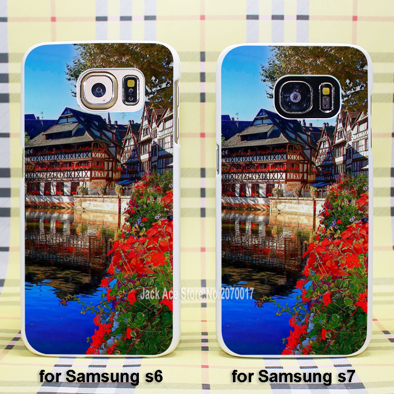 Christmas Market Strasbourg case cover for Samsung Galaxy s3 s4 s5 s6 s6edge s7 s7edge plastic white case(China (Mainland))