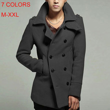 NEW ARRIVAL !2014 free shipping   Men's Korean Stylish Trench Coat with 7 colors ;  Slim Fit Overcoat Outerwear Long Coat(China (Mainland))