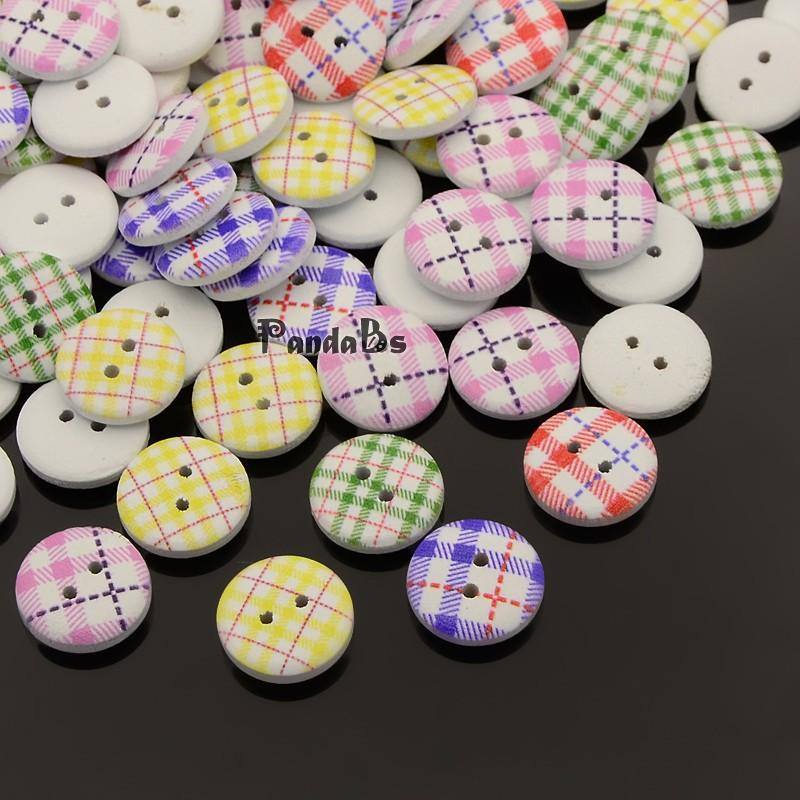2 Hole Flat Round font b Tartan b font Pattern Printed Wooden Sewing Buttons Dyed Mixed