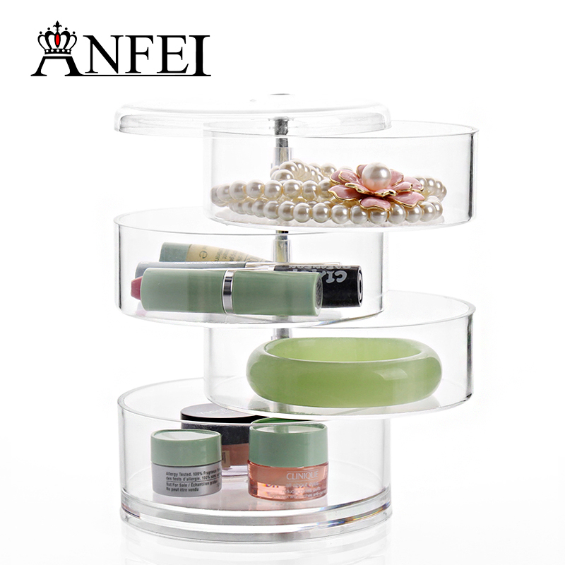 Multifunction 4 Cylinder Case Rotatable Clear Jewelry Organizer For Cosmetics Boite De Rangement Makeup Desk Storage Holder(China (Mainland))
