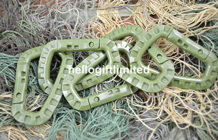 30pcs POM Army Green 200 Pound Plastic Carabiner Molle Gear Snap Lock Outdoor Accessory Hiking EDC Tool(China (Mainland))