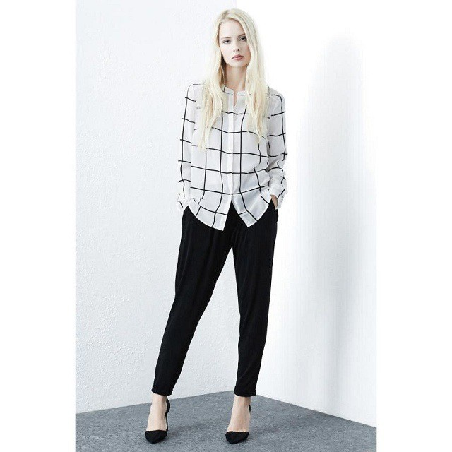 2015 Spring Fashion Casual Boyfriend Plaid Shirt Women Long Sleeve Loose Style Grid Blouse Tops Female Discount DY45