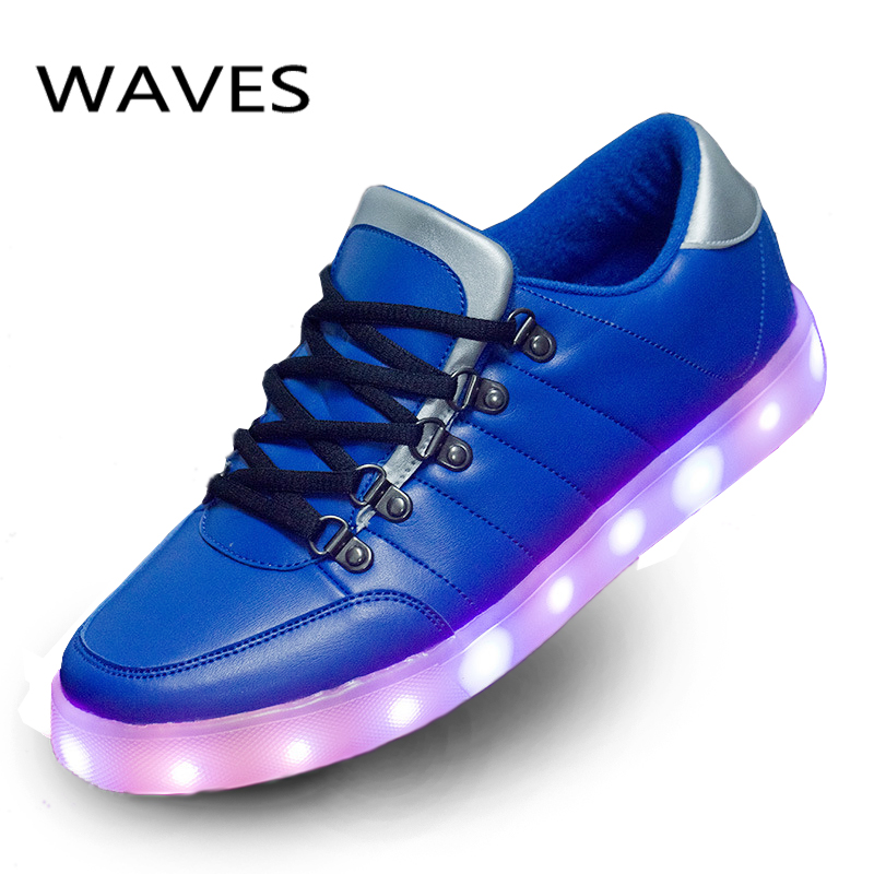 Lights Up Luminous USB Rechargeable Casual Flats Blue Red Shoes Men Newest LED Shoes For Adults Fashion Footwear Glowing Shoes <br><br>Aliexpress