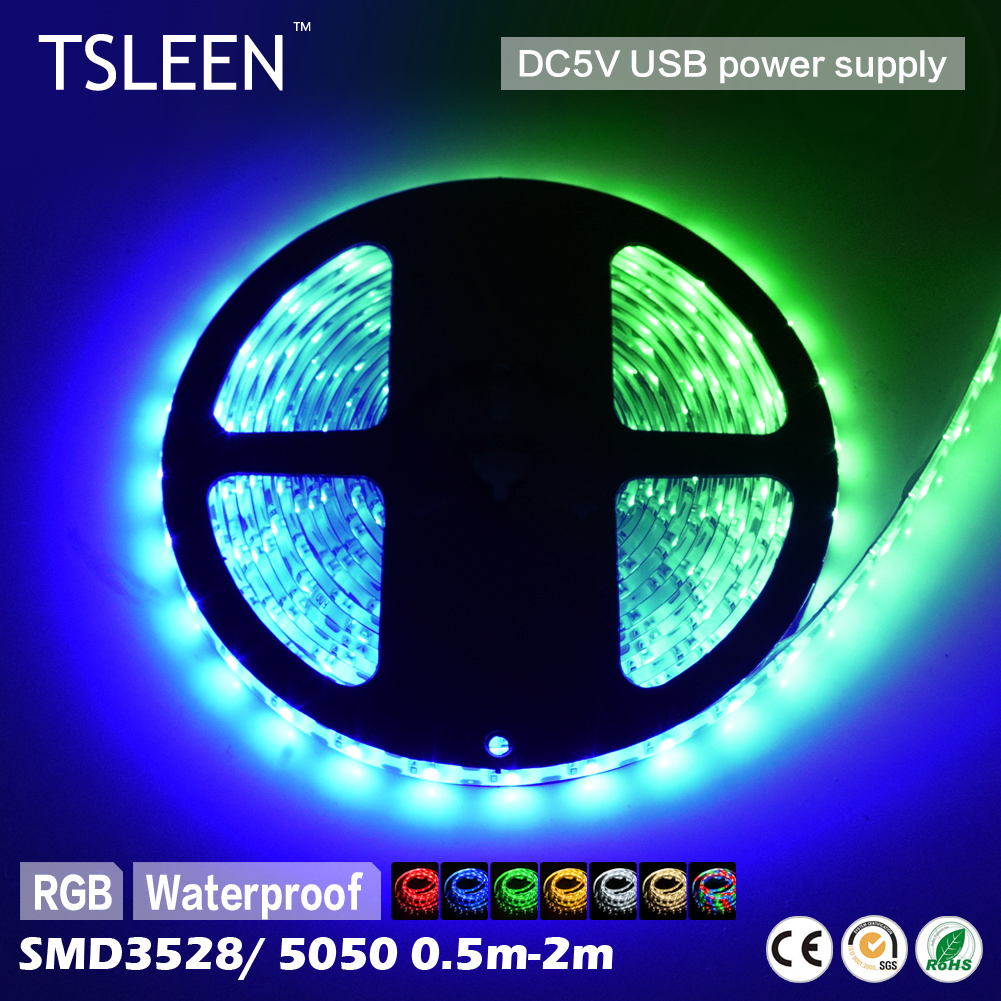 TSLEEN Full Color RGB USB 5V 3528 5050 SMD Flexible LED Strip Light Roll Super Bright For Home Party Stage Decorations(China (Mainland))