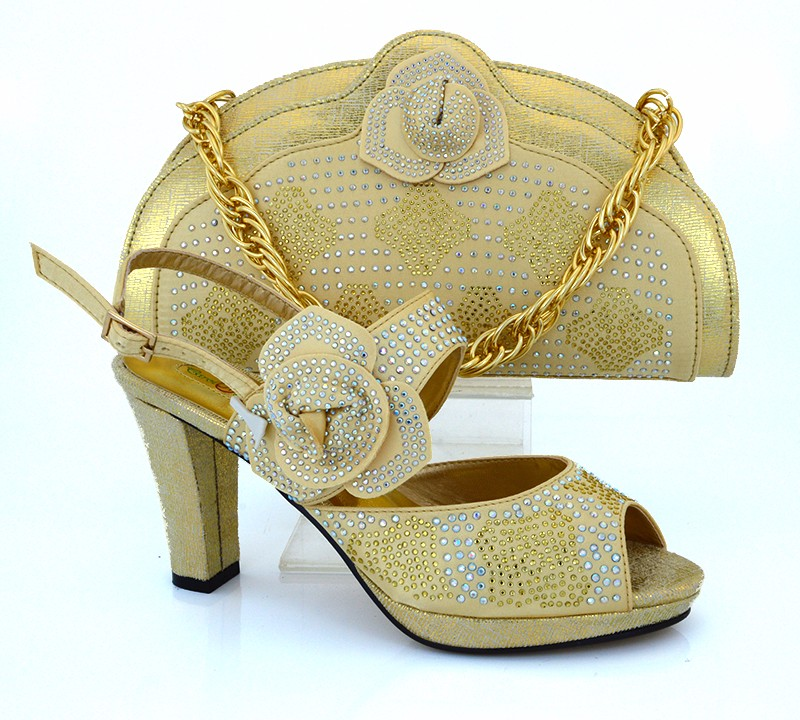 MM1008 High Quality Italian Matching Shoe And Bag Set With full Rhinestone For party dress,African lady matching shoes with bag.