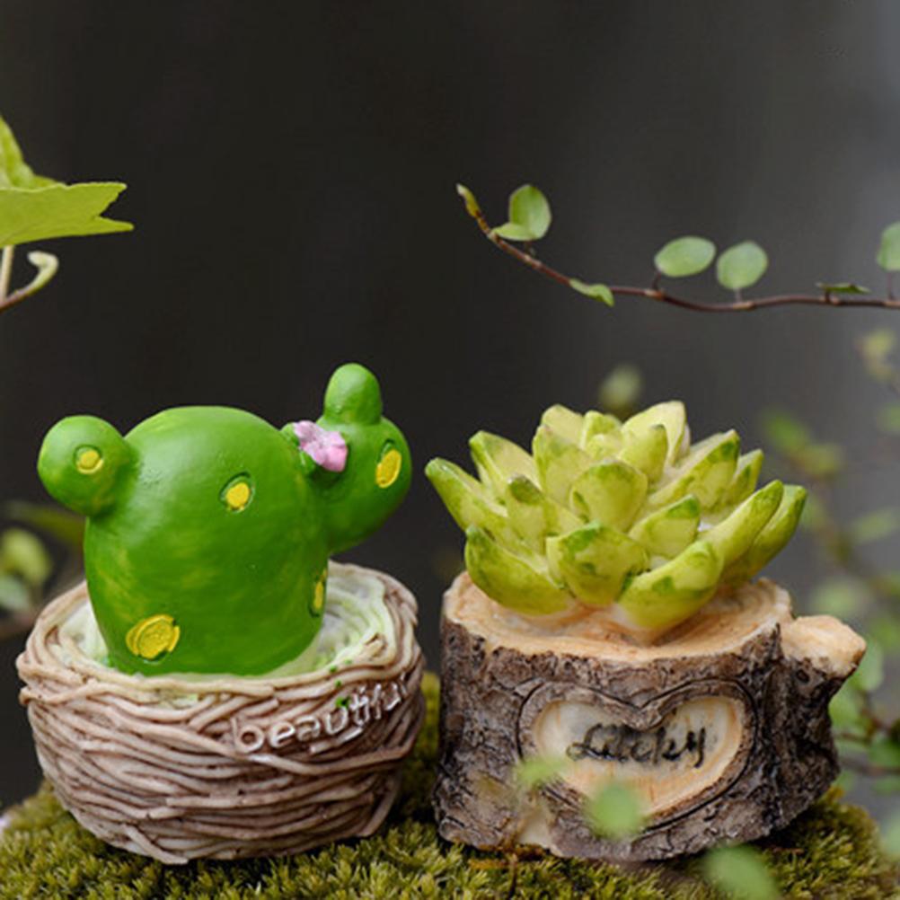 Fairy garden ornaments - Simulation Flower Pot Fairy Garden Miniatures Gnomes Moss Terrariums Crafts Figurines Decoration Home Ornaments Random Style