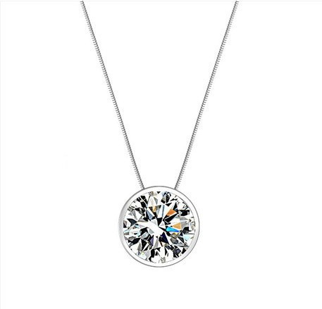(5 pcs/lot) AAA 100% Silver 925 Necklace White gemstone Shining Stars Round Necklaces & Pendants Fine Jewelry FREE SHIPPING(China (Mainland))