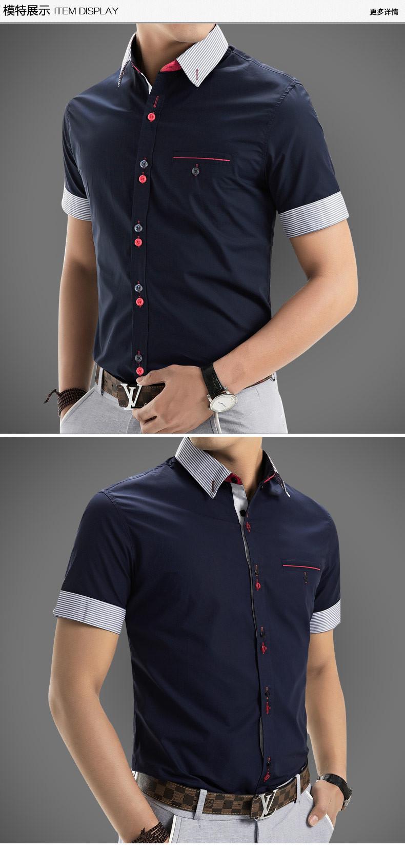 2015 Men Shirt New Brand Shirts Short Sleeve Casual Shirt Men Slim Fit Brand Design Formal Shirt Camisa Social Chemise Homme1