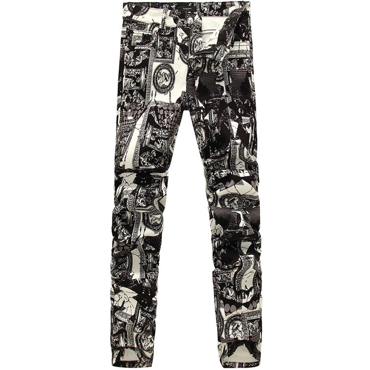 Skinny Printed Jeans Spring and Autumn new Europe and Foreign Trade Boom men's Slim Fit Stretch men Pant With Bound Feet(China (Mainland))