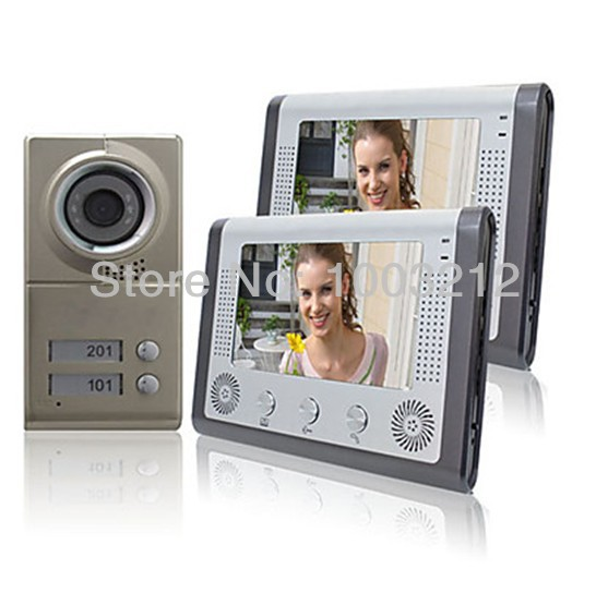 7inch Video Door Phone For Neighbours 2 Families Apartments Cheap Set Night Vision Aluminum alloy waterproof Camera(China (Mainland))