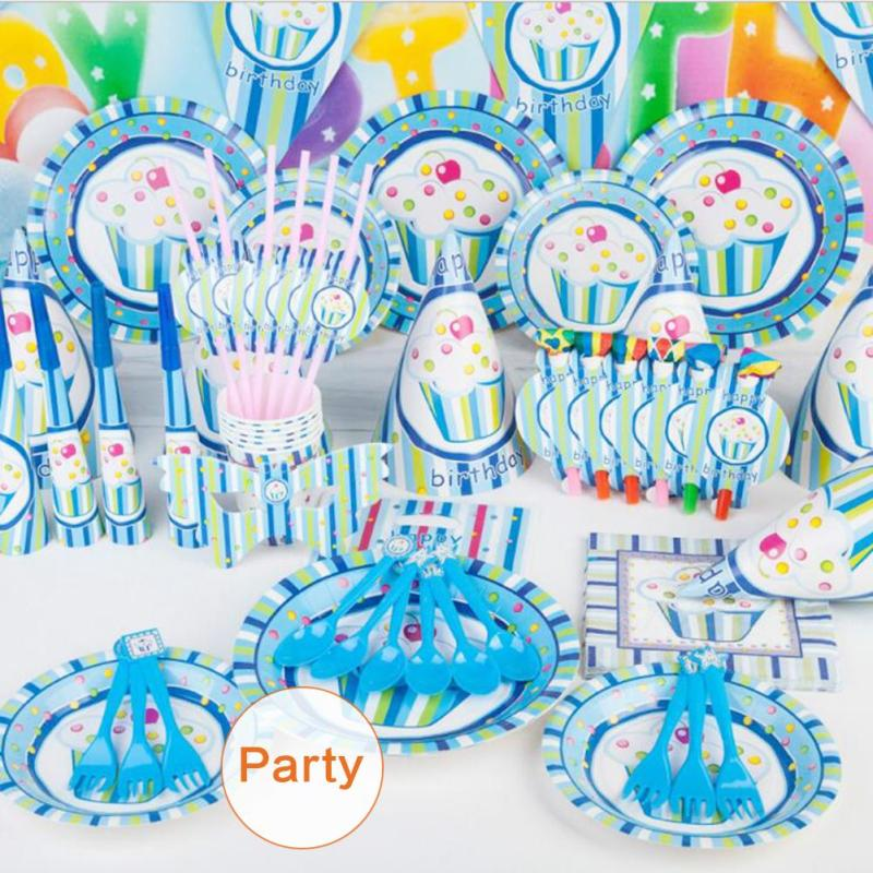 84pcs kids birthday ice cream table cloth flag Pack birthday party decorations Children Event Party Supplies A45(China (Mainland))