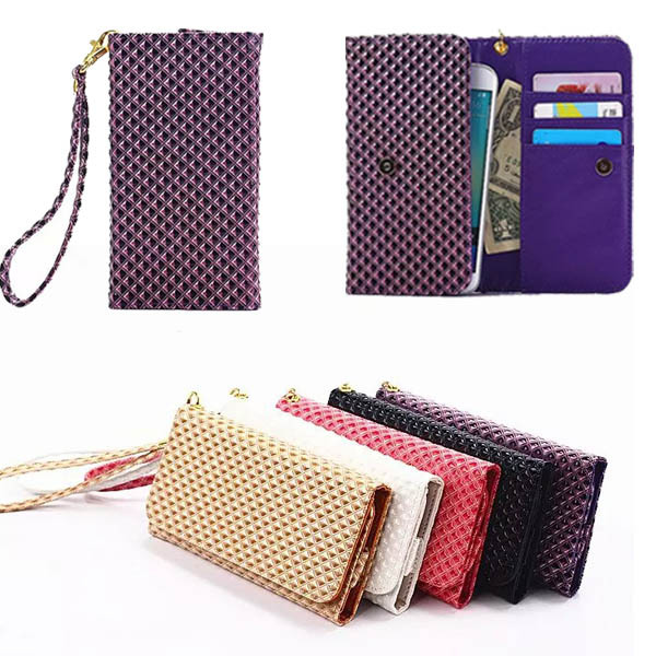 Grid Grain Wallet Bag Case For samsung galaxy s3 mini / S4 Mini Universal Flip Cover Leather Strip Wrist Portable Phone Pouch(China (Mainland))