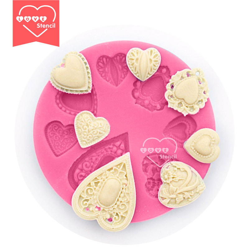 Emboss Heart Series Silicone Mold for Cake Decorating,Sugarcraft Silicone Mold,Fondant Cake Mold Lace Chocolate Mold SM-220(China (Mainland))