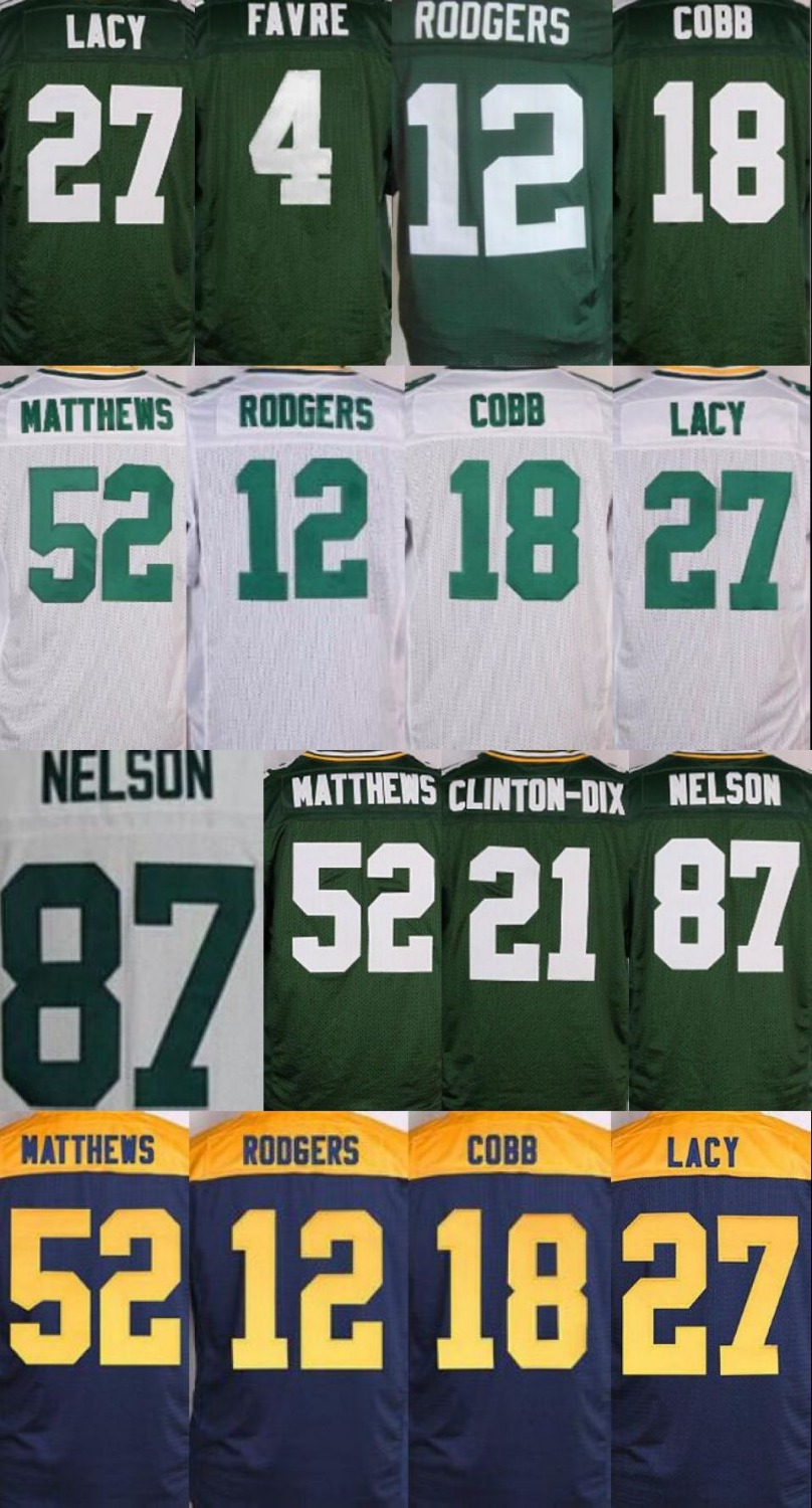 12 Aaron Rodgers 18 Randall Cobb 21 Ha Ha Clinton-Dix 27 Eddie Lacy 52 Clay Matthews 87 Jordy Nelson Elite jersey(China (Mainland))