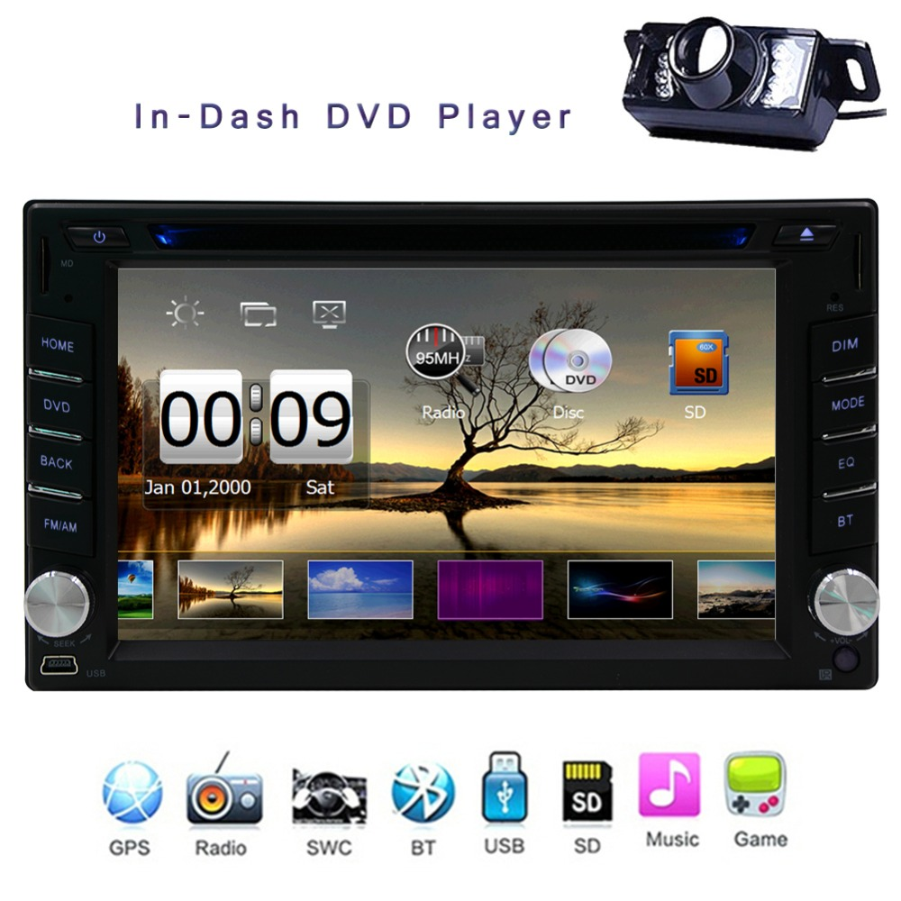 Universal Car Radio Double 2 din Car DVD Player GPS Navigation In Dash Car Headunit Autoradio Stereo video+Map Card Free Camera(China (Mainland))