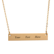 Personalized Engraved Name in 316 stainless steel ID Bar Necklace Custom Made with Any Word Letters nameplate necklace Jewelry(China)