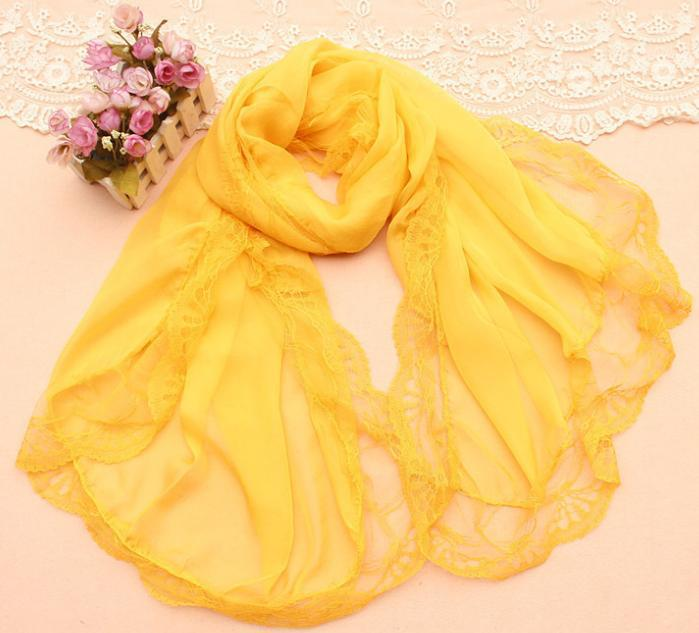 Mixed batch 3pc/lot Scarves 2014 new women's Korean chiffon lace solid color scarf shawl beach towel 92112(China (Mainland))