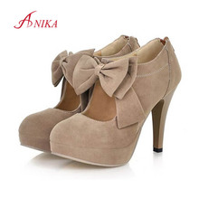 2015 Plus Size 32-47 Fashion Bowtie Platform Woman Pumps Ladys Sexy High Heeled High Quality Women Shoes Spring Summer Autumn(China (Mainland))