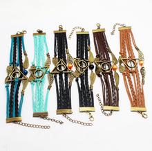 Hot Sale Harry potter bracelet Golden Snitch Slytherin School Bracelet Custom owls wings Charm Bracelets For Women & Men(China (Mainland))