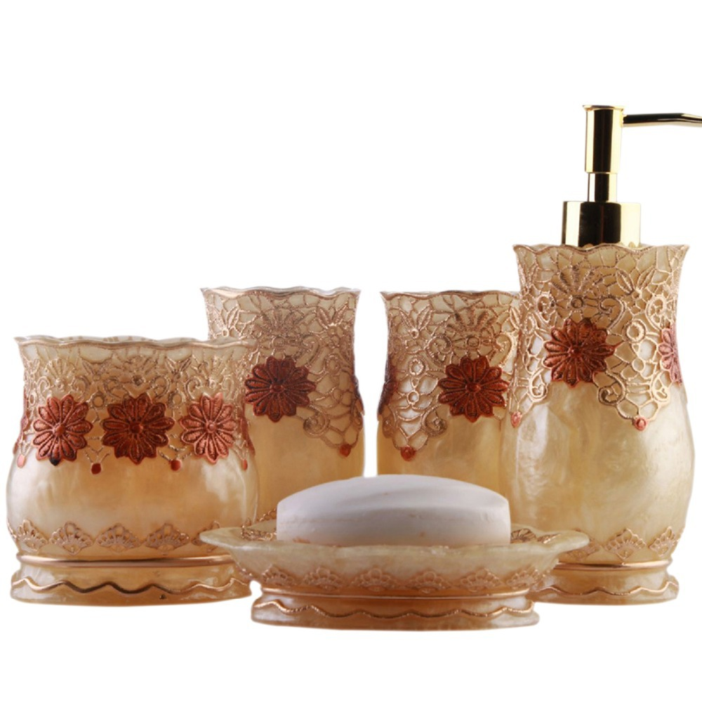 Buy luxury royal floral lace bathroom for Floral bath accessories