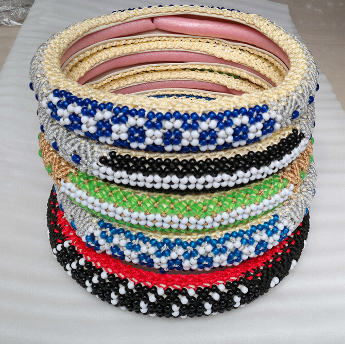HOT SALE Bead Steering Wheel Covers Fit 95% Car Styling for vw/ford/toyota/nissan etc.,size 38cm Cheap&High Quality(China (Mainland))