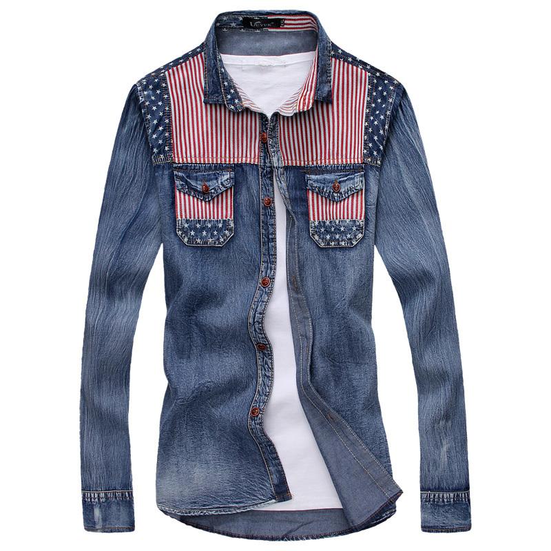new top summer autumn denim cotton dress shirts 2015
