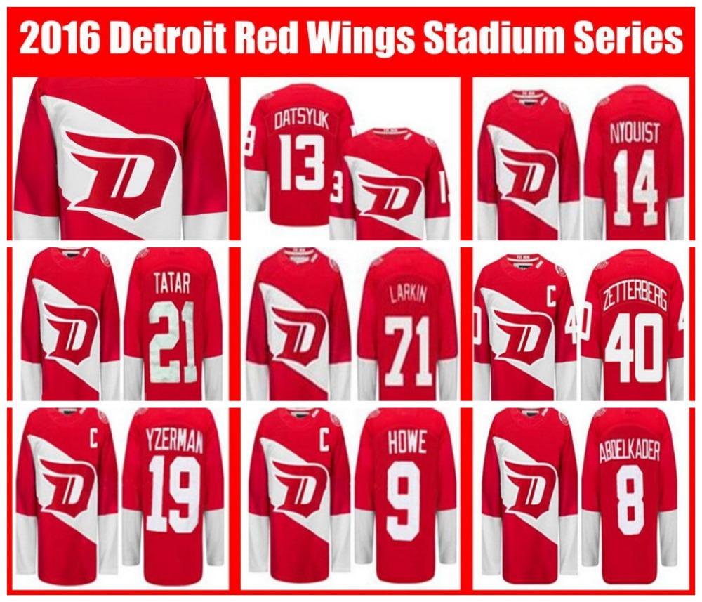 Detroit Red Wings Stadium Series Jerseys 2016 Dylan Larkin Pavel Datsyuk Steve Yzerman Zetterberg Nyquisi Howe Abdelkader Tatar