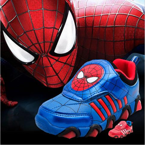 Children Shoes luminous New fashion Spiderman Flashe Sports Sneakers For Kids boots Brand Light Boys trainer girl tenis Led(China (Mainland))