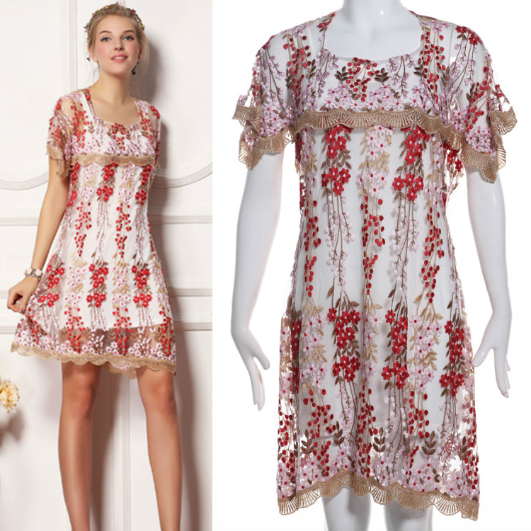 2015 Summer European Fashion Sophisticated Casual Embroidery Mesh Short Sleeve Above Knee Red Loose Dress(China (Mainland))