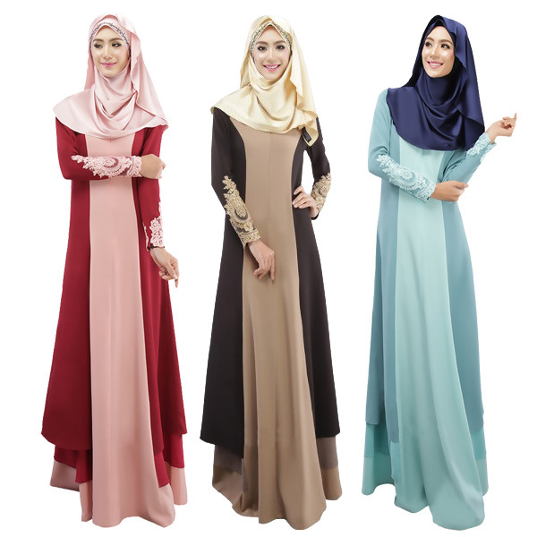 ... Malaysian Muslim Women Dress Color Female-in Islamic Clothing from