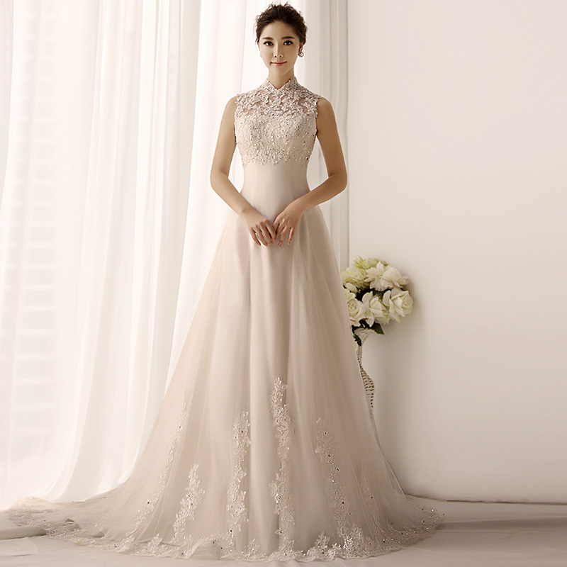 Free shipping custom made high collar wedding dress for for High collared wedding dress