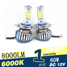 Buy Auto Car Headlight H4 LED H7 LED H1 H3 H11 9005 9006 880 9004 9007 H16 H13 60W 8000lm 6000K Replacement Kit Bulb HiLo Beam for $23.87 in AliExpress store