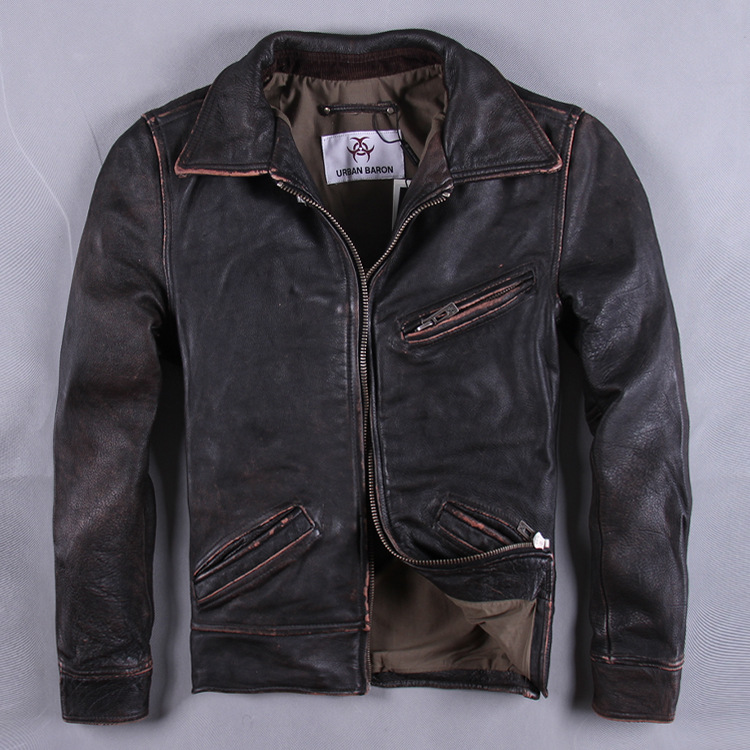 genuine leather high quality Men's head layer thickness cowhide leather leather motorcycle clothing to do the old retro short pa(China (Mainland))