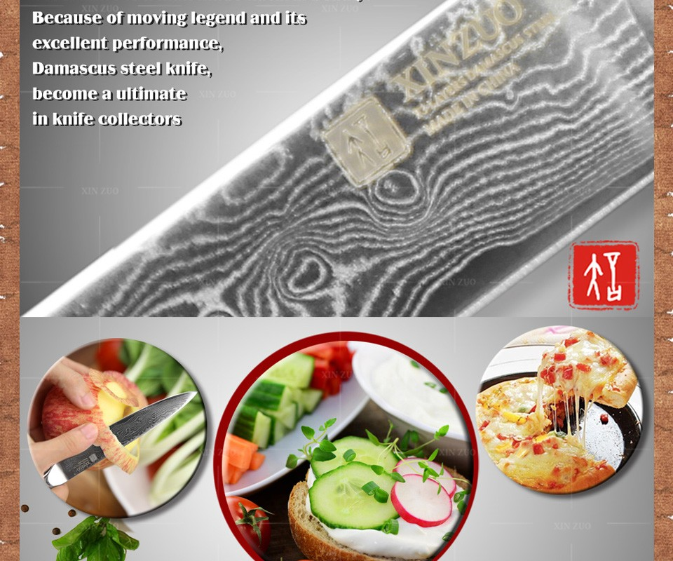 Buy XINZUO 5 inches utility knife 73 layer Japanese Damascus kitchen knife knife super sharp fruit paring knife Free shipping cheap