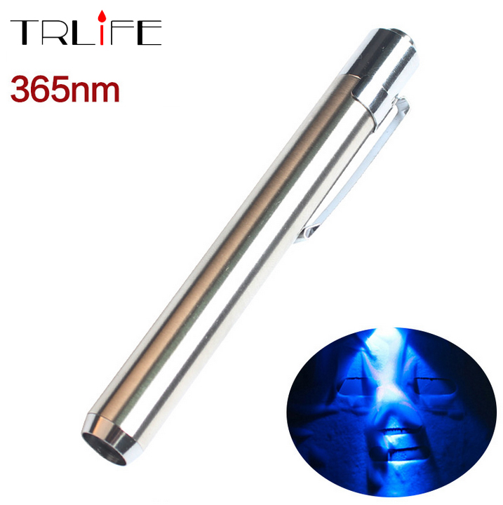 Stainless Steel 365nm UV Waterproof Led Flashlight Torch Ultraviolet Light to Detectorlamp for AAA Battery(China (Mainland))