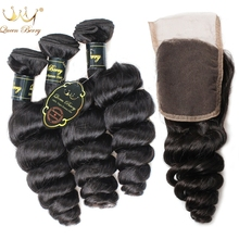3 Brazilian Virgin Hair Weave Bundles With Closure 8A Loose Curly Wave Human Hair Queen Berry Hair Products With Closure Bundles