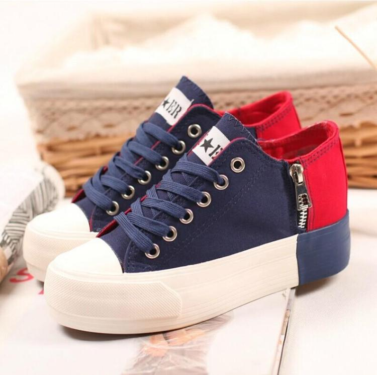 2014 women's low platform elevator ultra high heels canvas shoes fashion color block decoration trend single - eight store
